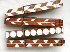 GEOMETRIC PATTERN CLOTHESPIN hand painted wooden by SugarAndPaint,