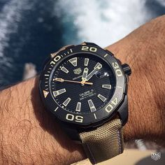 The perfect summer weekend watch! The TAG Heuer Aquaracer Calibre 5! #DontCrackUnderPressure