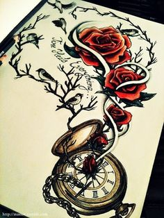 I really like elements of this tattoo. The watch/compass, the chain attached to it, the colours. Maybe not so many roses though.  I want to change the watch into a compass though.