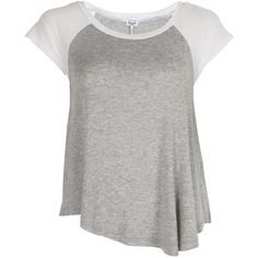 Splendid Drapey Lux Baseball Tee in Heather Grey ❤ liked on Polyvore featuring tops, t-shirts, shirts, blusa, heather grey, short sleeves, stretchy t shirts, baseball t shirt, short sleeve t shirt and sexy shirts