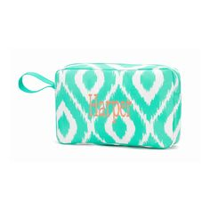 Personalized/Monogrammed Mint Ikat Accessory Bag