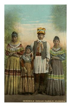 Seminole Indian Family, Florida (I just ♥ the Indian Dresses; the old Calicos with bands of colour)