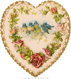 Vintage heart shaped valentine with birds Decoupage Vintage, Éphémères Vintage, Papel Vintage, Vintage Heart, Vintage Ephemera, Vintage Paper, Vintage Postcards, Vintage Prints, Vintage Images