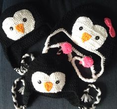 Crochet penguin hats