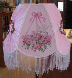 Beautiful Sugar Beaded Victorian Shade 15 Doves & Pink Roses Original Design By KERRI-Victorian, Shade, handsewn, beads, glass, sugared, Vintage, Antique,Old, Pearls, Roses, Pink,