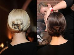 Hairstyling by Odile Gilbert sew bun to the head