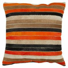 Rich in textural appeal, this feather-down-filled pillow features a striped cowhide front and suede backing.  Product: Set of 2 pillowsConstruction Material: Cowhide and feather-down fillColor: Orange and tanFeatures: Inserts included