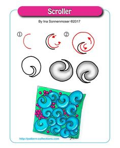 Scroller by Ina Sonnenmoser Zentangle Drawings, Doodles Zentangles, Doodle Drawings, Doodle Art, Zen Doodle Patterns, Zentangle Patterns, Doodle Borders, Fun Patterns, Zantangle Art