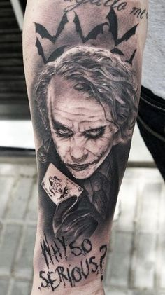I want this tattoo SO BAD The dark knight, the joker, heath ledger