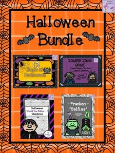 """HAPPY HALLOWEEN!  Here is a great """"treat"""" for those of you who like a good deal!(Note: If purchased separately the items are normally priced at $10.50)  This Halloween Bundle contains FOUR """"spooktacular"""" Halloween products.  Product #1 - Halloween -Franken- """"Selfies"""" ActivityProduct #2 - Halloween Would You Rather...?"""