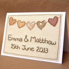 Personalised Wedding Bunting Card - Cream/Beige