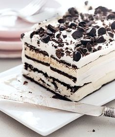 Ice Cream Sandwich Ice Cream Cake!    Ingredients        1  cup  heavy cream      2  tablespoons  confectioners' sugar      6  ice cream sandwiches (3.5 ounces each)      1/2  cup  chocolate chips, chopped    Directions        Line an 8½-by-4½-inch loaf pan with a piece of wax paper or parchment, allowing the paper to hang over both long sides.