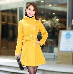 Fashion Stand Collar Button Long Coat