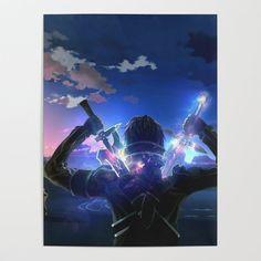 Sword Art Online Poster by leaguofy Kirito Sword, Kirito Asuna, Sword Art Online Kirito, Kirito Kirigaya, Wallpapers Geeks, Animes Wallpapers, Sword Art Online Poster, Sword Art Online Wallpaper, Online Anime
