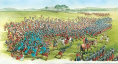 Roman Legionaries battle Celtic forces, as the Roman auxiliary cavalry attacks the flank.