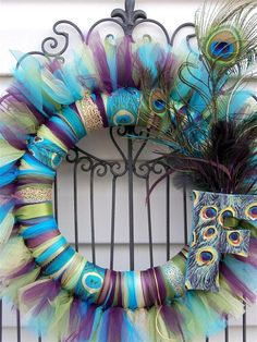 Peacock Theme Tulle Wreath With Peacock/Ostrich Feathers and Custom Monogram Letter- A MUST SEE