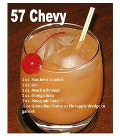 One of my favorite drinks! Pineapple Juice oz Grenadine Cherry or Pineapple Wedge to garnish Liquor Drinks, Cocktail Drinks, Beverages, Alcohol Drink Recipes, Punch Recipes, Refreshing Drinks, Yummy Drinks, Alcholic Drinks, Peach Schnapps