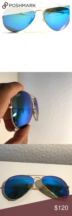 Blue Ray Ban Aviator Sunglasses Selling my lightly used Blue Ray Ban's (yes, they're authentic, no I don't have the receipt). I bought these for a vacation last summer & have rarely used them since. Purchased at Macy's for $165 (about $178 w tax), but haven't used them at all this year. Super fun color, I always get compliments wearing these. I think $120 is a very fair price...that about 33% off retail. Sure, you can buy these retail at Macy's yourself, but Ray-Ban's don't qualify for…