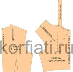 Выкройка спинки и полочки платья с галстуком