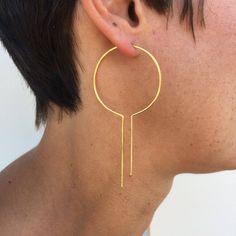 Statement earrings geometric hoop earrings gold art deco earrings unique hoop thin gold hoops art deco earrings lightweight modern by HartmannJewelryWorks Emerald Earrings, Gold Hoop Earrings, Unique Earrings, Crystal Earrings, Drop Earrings, Gold Hoops, Star Earrings, Flower Earrings, Earrings Handmade