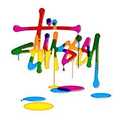 Stussy rainbow print
