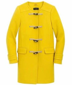 2007 Italian Stadium-Cloth Wool Toggle Coat | Shine bright on dreary days in this fun coat, brought back from the J.Crew design archives out of demand from customers. Available in four colors (if yellow isn't your thing), this long wool coat is sure to keep you warm for seasons to come. A detachable hood makes it easy to transition from sunny days to snowy ones.