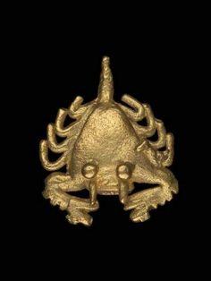 Horseshoe crab effigy      Coclé, A.D. 450–1520  , gold      Sitio Conte area, Coclé Province, Panama