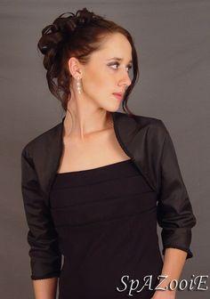 Black satin bolero jacket bridal shrug wedding by SpAZooiEBridal, $37.50
