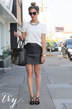 try a top knot, leather skirt, and leopard heels... cuteeeeee