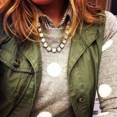 Anorak vest and cotton long sleeve with big polka dots over a striped shirt. Don't forget the pearls or gem stone necklace.