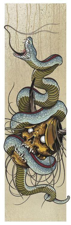 23 Bold and Badass Snake Tattoo Ideas for Women - Best Tattoos Japanese Tattoo Art, Japanese Art, Skull Tattoos, Body Art Tattoos, Tattoo Sketches, Tattoo Drawings, Hannya Maske, Petit Tattoo, Totenkopf Tattoos