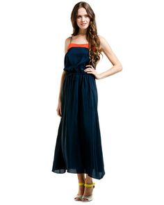 Navy & Red Silk Tap Dress/would look good with silver top instead of the red