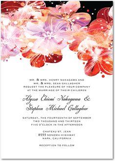 black and red wedding invitation