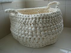 Items similar to Recycled tee shirt yarn crochet basket on Etsy