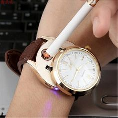 Men Gold Wristwatches Windproof Flameless Cigarette Cigar Lighter Watch USB Charging Sports Clock Men Quartz Watch Military D35 #Affiliate