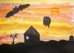 Art is Basic-- Art Teacher Blog: Halloween Silhouettes-- Kindergarten