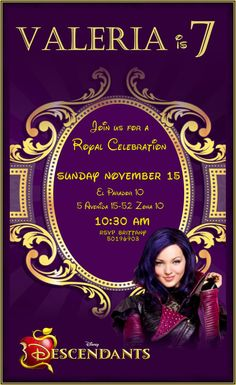 Descendants Mal Invite Invitation for descendants themed party Personalized digital art for every event