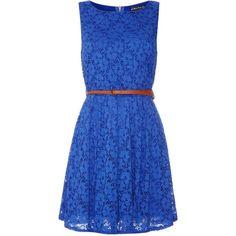 Mela Loves London Lace dress ($22) ❤ liked on Polyvore featuring dresses, vestidos, casual dresses, short dresses, blue, women, sleeveless lace dress, lace fit and flare dress, blue sleeveless dress and waist belt