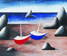 """Jan Zrzavý (1890-1977) - Barges on the coast - oil tempera on plywood - dated 1948 [...], mis en vente lors de la vente """"Auction Day"""" à Vltavin - Aukcni Sin Vltavin, s r. o.   Auction.fr"""