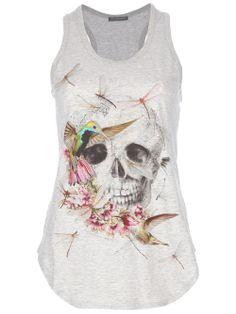 Grey Skull Vest top ~ Alexander McQuee