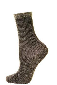 gold ribbed glitter ankle socks