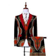 African Dashiki Print Blazer And Pant 3 Pieces Set Men Blazers African Ankara Suit Jacket Dress Suits For Men, Mens Suits, Men Dress, Suit Men, Mens Attire, African Men Fashion, Mens Fashion, Africa Fashion, African Dashiki