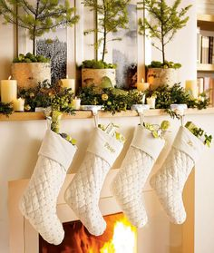 Christmas in white fireplace