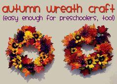 Autumn Wreath Craft for Kids (even preschoolers can help!)