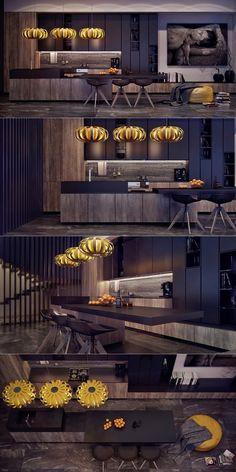 moderna y elegante cocina con lamparas amarillas