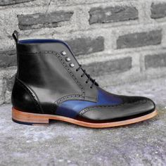 Handmade Ankle Boots, Casual Formal Black Blue Leather Boots, Men Boot - Boots