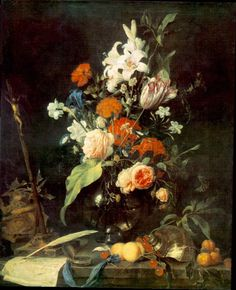 Flower Still life with Crucifix and Skull by Jan Davidsz de Heem, Oil painting reproductions - https://www.chinaoilpaintinggallery.com