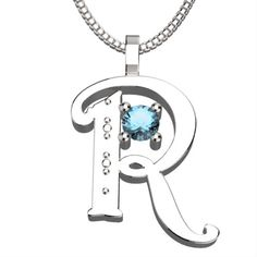 "BirthStone Letter R March Aquamarine 925 Solid Sterling Silver Pendant &18"" Necklace by JewleryDanny on Etsy https://www.etsy.com/listing/181233088/birthstone-letter-r-march-aquamarine-925"