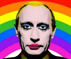 Ilustración de Vladimir Putin popularzada durante las manifestaciones en favor de los derechos LGTB+ en Rusia en 2013.