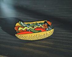 Chicago Hot Dog Enamel Lapel Pin by figandinkdesign on Etsy